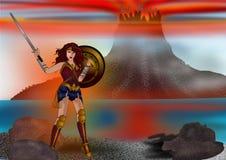 Mujer Maravilla y el fondo de la montaña stock de ilustración