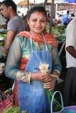 Mujer mauriciana - escena del mercado Foto de archivo libre de regalías