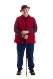 Mujer mayor activa con el bastón Imagen de archivo libre de regalías