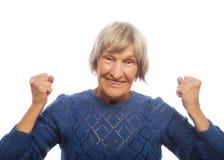 Mujer mayor aislada en blanco Fotos de archivo