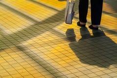 Mujer mayor con el bolso de compras que recorre cerca Imagenes de archivo
