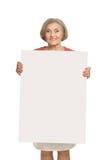Mujer mayor con el espacio en blanco Foto de archivo libre de regalías