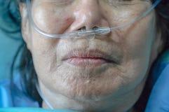 Mujer mayor con el tubo para respirar nasal foto de archivo