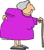 Mujer mayor con una parte posterior dolorida foto de archivo