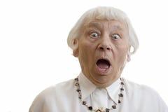 Mujer mayor dada una sacudida eléctrica Fotografía de archivo libre de regalías