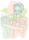 Mujer mayor dada una sacudida eléctrica en su peso Fotografía de archivo libre de regalías