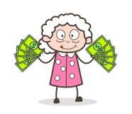 Mujer mayor de la historieta que muestra el ejemplo del vector del dinero stock de ilustración
