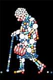 Mujer mayor de las tabletas de las píldoras Foto de archivo libre de regalías