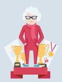 Mujer mayor en un podio de los ganadores Fotos de archivo libres de regalías