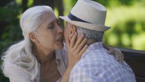 Mujer mayor feliz que abraza con el marido al aire libre almacen de metraje de vídeo