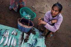 mujer mayor local que vende pescados y las anguilas en el mercado del pueblo imagen de archivo