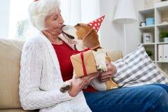 Mujer mayor que besa el perro en cumpleaños foto de archivo