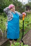 Mujer mayor que cava en campo Imagen de archivo libre de regalías