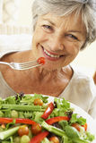 Mujer mayor que come la ensalada sana Imagen de archivo libre de regalías