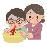 Mujer mayor que cuida para el hombre mayor de la sangre que vomita Foto de archivo libre de regalías