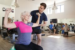Mujer mayor que ejercita en bola suiza con los pesos que son animados por el instructor personal In Gym foto de archivo