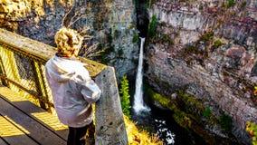 Mujer mayor que mira las caídas de Spahats en la cala de Spahats de la plataforma de visión en Wells Gray Provincial Park foto de archivo libre de regalías