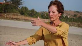 Mujer mayor que practica al aire libre gimnástico del taiji almacen de video