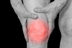 Mujer mayor que sostiene la rodilla con dolor fotografía de archivo
