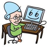 Mujer mayor que usa el ordenador stock de ilustración