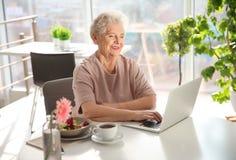 Mujer mayor que usa el ordenador portátil mientras que desayunando imágenes de archivo libres de regalías