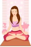 Mujer Meditating de la yoga stock de ilustración