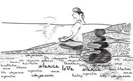 Mujer meditating en la playa ilustración del vector