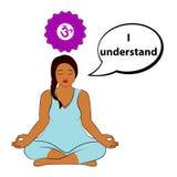 Mujer Meditating Entiendo - la afirmación para el chakra Sahasrara stock de ilustración