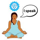 Mujer Meditating Hablo - la afirmación para el chakra Vishuddha stock de ilustración