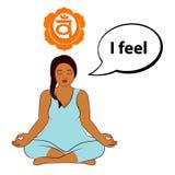 Mujer Meditating Siento - la afirmación para el chakra Swadhisthana stock de ilustración