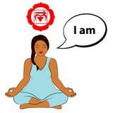 Mujer Meditating Soy - afirmación para el chakra Muladhara stock de ilustración