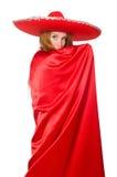 Mujer mexicana en ropa roja Imagen de archivo libre de regalías