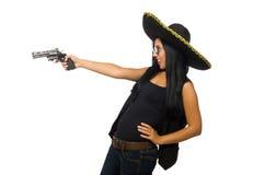 Mujer mexicana joven con el arma en blanco imagenes de archivo