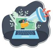 Mujer minúscula con el megáfono en la pantalla de monitor de computadora libre illustration