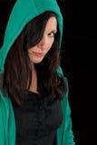 Mujer misteriosa con la perforación Imagenes de archivo