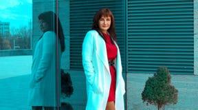 Mujer morena adulta joven de la elegancia que presenta al lado del wa del espejo Fotografía de archivo libre de regalías