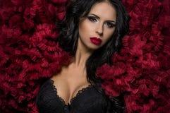 Mujer morena atractiva en ropas interiores negras y bolero mullido rojo Fotografía de archivo