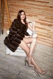 Mujer morena atractiva joven hermosa que lleva un diseño elegante y un abrigo de pieles de moda, pierna fina larga del vestido co imagen de archivo