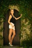 Mujer morena hermosa del estilo del blog en la presentación de moda del vestido Imagen de archivo