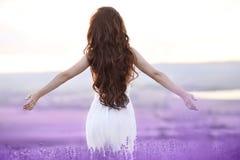 Mujer morena libre con los brazos abiertos que disfruta de puesta del sol en la lavanda f Fotografía de archivo libre de regalías