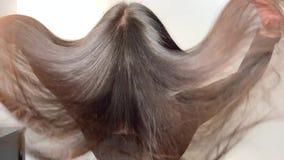 Mujer morena que agita su pelo hermoso, sano después de un tratamiento en un salón de belleza almacen de video