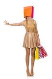 Mujer muchos panieres después de hacer compras Fotografía de archivo