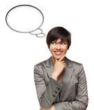 Mujer multiétnica con las burbujas en blanco del pensamiento Imágenes de archivo libres de regalías