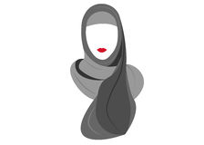 Mujer musulmán árabe en el hijab, dibujando en un fondo blanco Fotos de archivo libres de regalías