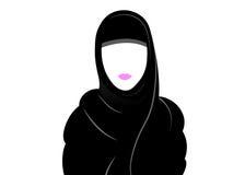 Mujer musulmán árabe en el hijab, dibujando en un fondo blanco Fotos de archivo
