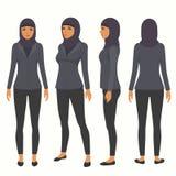 Mujer musulmán, carácter árabe del negocio del vector, stock de ilustración