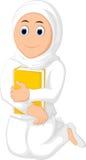 Mujer musulmán con el abrazo de un velo blanco que lleva del libro stock de ilustración
