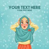 Mujer musulmán sorprendida con llevar a cabo su cabeza libre illustration