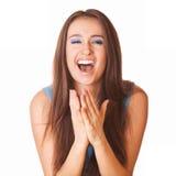 Mujer muy feliz en el asombro Imagenes de archivo
