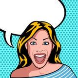 Mujer muy feliz y sorprendida libre illustration
